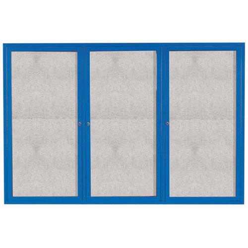 "Aarco ODCC4872-3RIB 3 Door Outdoor Illuminated Enclosed Bulletin Board with Blue Powder Coated Aluminum Frame 48"" x 72"""
