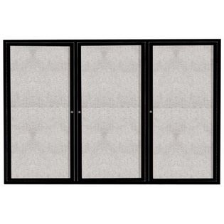 "Aarco ODCC4872-3RIBK 3 Door Outdoor Illuminated Enclosed Bulletin Board with Black Powder Coated Aluminum Frame 48"" x 72"""