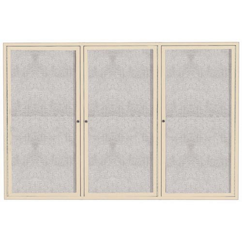 """Aarco ODCC4872-3RIIV 3 Door Outdoor Illuminated Enclosed Bulletin Board with Ivory Powder Coated Aluminum Frame 48"""" x 72"""""""