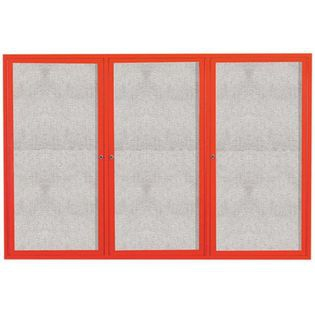 "Aarco ODCC4872-3RIR 3 Door Outdoor Illuminated Enclosed Bulletin Board with Red Powder Coated Aluminum Frame 48"" x 72"""