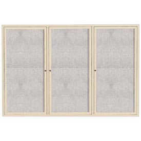 "Aarco ODCC4872-3RIV 3 Door Outdoor Enclosed Bulletin Board with Ivory Powder Coated Aluminum Frame 48"" x 72"""