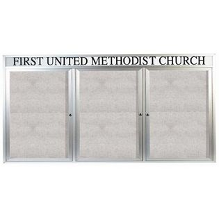 """Aarco ODCC4896-3RHI 3 Door Outdoor Illuminated Enclosed Bulletin Board with Aluminum Frame and Header 48"""" x 96"""""""