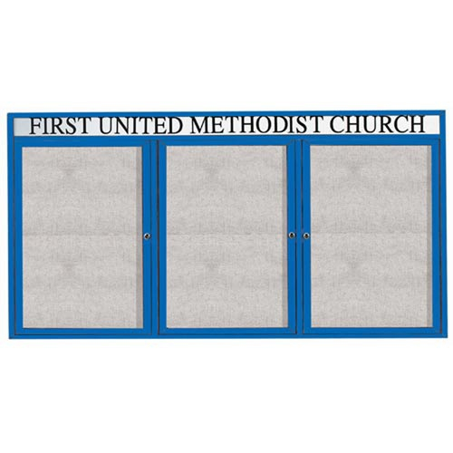 "Aarco ODCC4896-3RHIB 3 Door Outdoor Illuminated Enclosed Bulletin Board with Blue Powder Coated Aluminum Frame and Header 48"" x 96"""