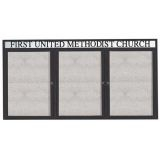"""Aarco ODCC4896-3RHIBA 3 Door Outdoor Illuminated Enclosed Bulletin Board with Bronze Anodized Aluminum Frame and Header 48"""" x 96"""""""