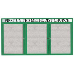 "Aarco ODCC4896-3RHIG 3 Door Outdoor Illuminated Enclosed Bulletin Board with Green Powder Coated Aluminum Frame and Header 48"" x 96"""