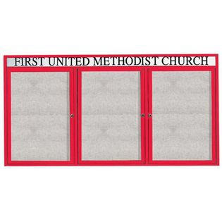 """Aarco ODCC4896-3RHIR 3 Door Outdoor Illuminated Enclosed Bulletin Board with Red Powder Coated Aluminum Frame and Header 48"""" x 96"""""""