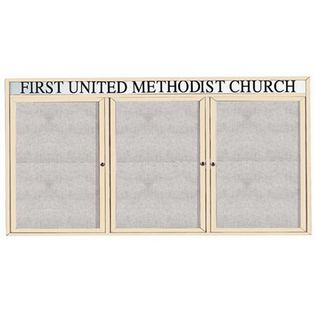 "Aarco ODCC4896-3RHIV 3 Door Outdoor Enclosed Bulletin Board with Ivory Powder Coated Aluminum Frame and Header 48"" x 96"""