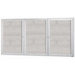 "Aarco ODCC4896-3RI 3 Door Outdoor Illuminated Enclosed Bulletin Board with Aluminum Frame 48"" x 96"""