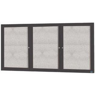 """Aarco ODCC4896-3RIBA 3 Door Outdoor Illuminated Enclosed Bulletin Board with Bronze Anodized Aluminum Frame 48"""" x 96"""""""