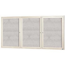 "Aarco ODCC4896-3RIIV 3 Door Outdoor Illuminated Enclosed Bulletin Board with Ivory Powder Coated Aluminum Frame 48"" x 96"""