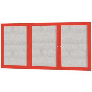 "Aarco ODCC4896-3RIR 3 Door Outdoor Illuminated Enclosed Bulletin Board with Red Powder Coated Aluminum Frame 48"" x 96"""