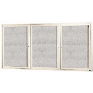"Aarco ODCC4896-3RIV 3 Door Outdoor Enclosed Bulletin Board with Ivory Powder Coated Aluminum Frame 48"" x 96"""