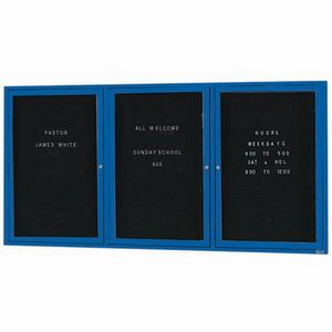 "Aarco OADC3672-3B 3 Door Outdoor Enclosed Directory Board with Blue Anodized Aluminum Frame 36"" x 72"""
