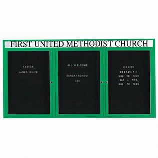 "Aarco OADC3672-3HG 3 Door Outdoor Enclosed Directory Board with Green Anodized Aluminum Frame and Header 36"" x 72"""