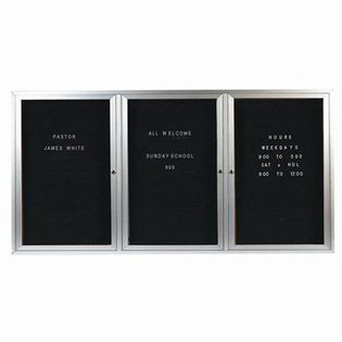 """Aarco OADC3672-3I 3 Door Outdoor Illuminated Enclosed Directory Board with Aluminum Frame 36"""" x 72"""""""