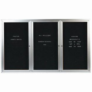 "Aarco OADC4872-3 3 Door Outdoor Enclosed Directory Board with Aluminum Frame 48"" x 72"""