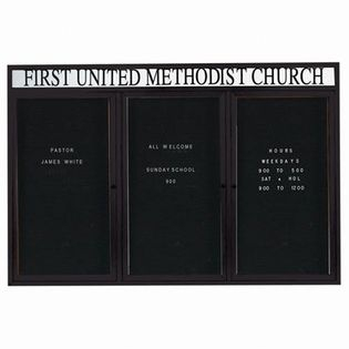 """Aarco OADC4872-3HBK 3 Door Outdoor Enclosed Directory Board with Black Anodized Aluminum Frame and Header 48"""" x 72"""""""
