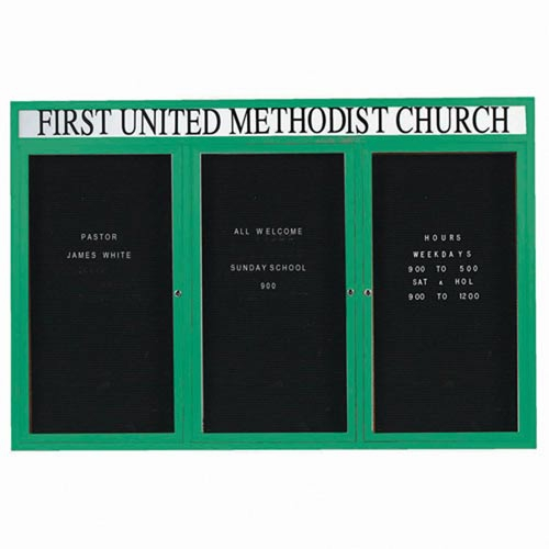 "Aarco OADC4872-3HG 3 Door Outdoor Enclosed Directory Board with Green Anodized Aluminum Frame and Header 48"" x 72"""