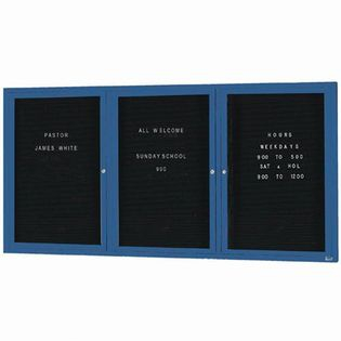 "Aarco OADC4896-3B 3 Door Outdoor Enclosed Directory Board with Blue Anodized Aluminum Frame 48"" x 96"""