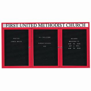 "Aarco OADC4896-3HR 3 Door Outdoor Enclosed Directory Board with Red Anodized Aluminum Frame and Header 48"" x 96"""