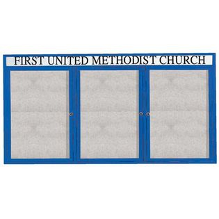 """Aarco ODCC3672-3RHB 3 Door Outdoor Enclosed Bulletin Board with Blue Powder Coated Aluminum Frame and Header 36"""" x 72"""""""