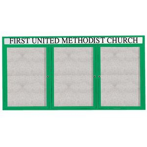 "Aarco ODCC3672-3RHG 3 Door Outdoor Enclosed Bulletin Board with Green Anodized Powder Coated Aluminum Frame and Header 36"" x 72"""