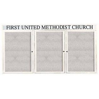 "Aarco ODCC3672-3RHW 3 Door Outdoor Enclosed Bulletin Board with White Powder Coated Aluminum Frame and Header 36"" x 72"""