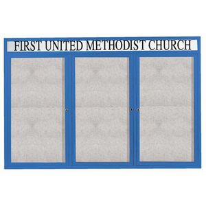 "Aarco ODCC4872-3RHB 3 Door Outdoor Enclosed Bulletin Board with Blue Powder Coated Aluminum Frame and Header 48"" x 72"""