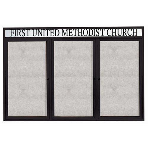 "Aarco ODCC4872-3RHBK 3 Door Outdoor Enclosed Bulletin Board with Black Powder Coated Aluminum Frame and Header 48"" x 72"""
