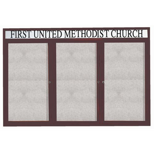 "Aarco ODCC4872-3RHG 3 Door Outdoor Enclosed Bulletin Board with Green Powder Coated Aluminum Frame and Header 48"" x 72"""
