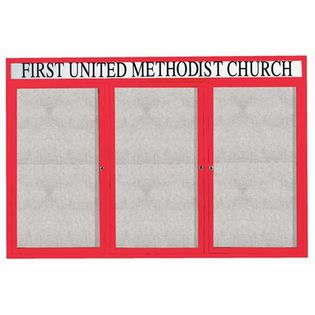 "Aarco ODCC4872-3RHR 3 Door Outdoor Enclosed Bulletin Board with Red Powder Coated Aluminum Frame and Header 48"" x 72"""