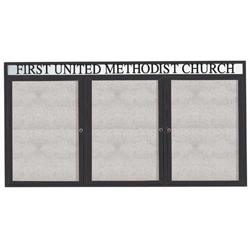 "Aarco ODCC4896-3RHBA 3 Door Outdoor Enclosed Bulletin Board with Bronze Anodized  Aluminum Frame and Header 48"" x 96"""