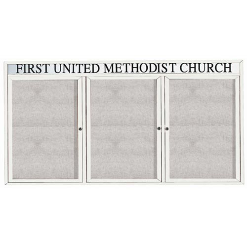 """Aarco ODCC4896-3RHW 3 Door Outdoor Enclosed Bulletin Board with White Powder Coated Aluminum Frame and Header 48"""" x 96"""""""