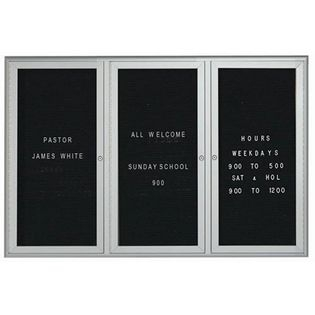 Aarco WFD4872 3 Door Enclosed Directory Board with Waterfall Style Aluminum Frame - Silver Finish  48