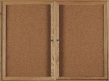 Aarco WBC3672-3R 3 Door Enclosed Bulletin Board with Walnut Finish 36