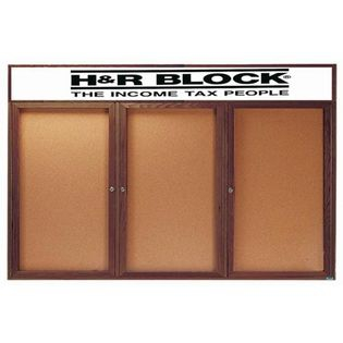 Aarco WBC3672-3RH 3 Door Enclosed Bulletin Board with Header and Walnut Finish 36