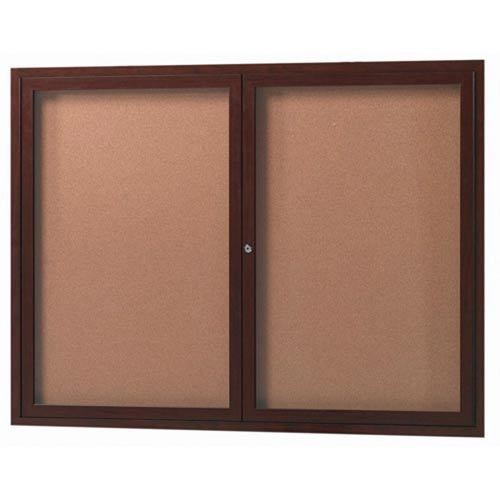 Aarco WBC3672RC 3 Door Enclosed Bulletin Board with Crown Molding and Walnut Finish 36