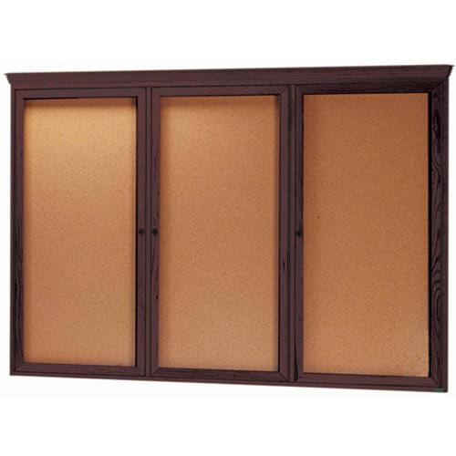 Aarco WBC4872RC 3 Door Enclosed Bulletin Board with Crown Molding and Walnut Finish 48