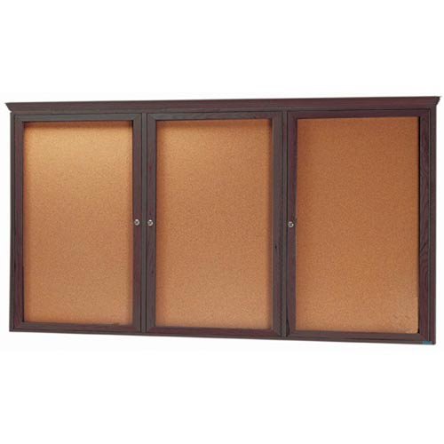 Aarco WBC4896RC 3 Door Enclosed Bulletin Board with Crown Molding and Walnut Finish 48