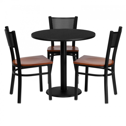 Flash Furniture 30'' Round Black Laminate Table Set with 3 Grid Back Metal Chairs - Cherry Wood Seat [MD-0007-GG]