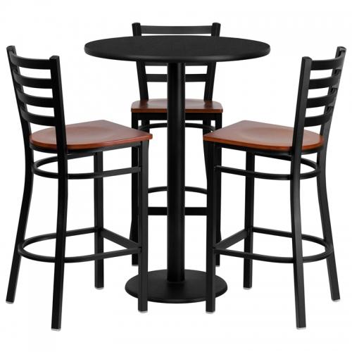 Flash Furniture 30'' Round Black Laminate Table Set with 3 Ladder Back Metal Bar Stools - Cherry Wood Seat [MD-0013-GG]