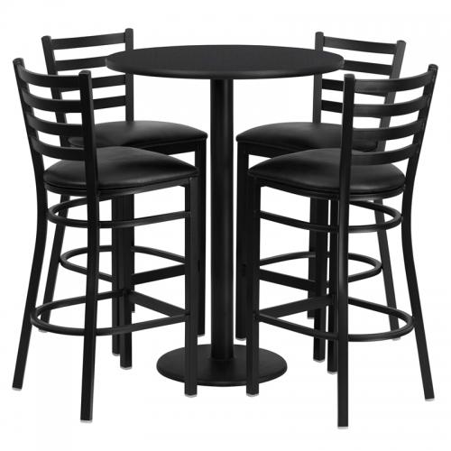 Flash Furniture 30'' Round Black Laminate Table Set with 4 Ladder Back Metal Bar Stools - Black Vinyl Seat [RSRB1021-GG]