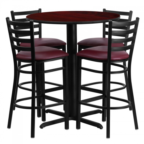 Flash Furniture 30'' Round Mahogany Laminate  Table Set with 4 Ladder Back Metal Bar Stools - Burgundy Vinyl Seat [HDBF1026-GG]