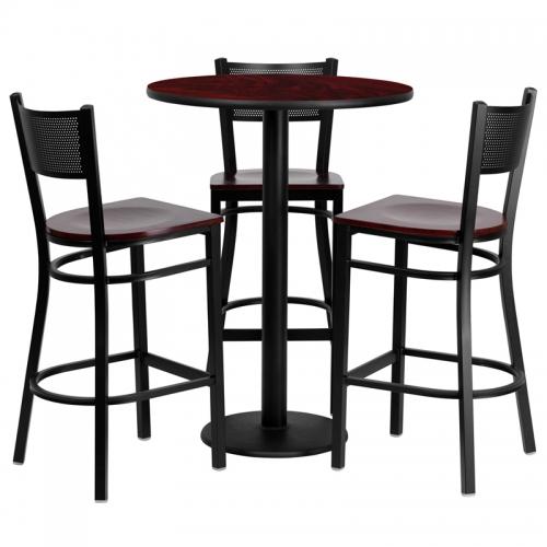 Flash Furniture 30'' Round Mahogany Laminate  Table Set with 3 Grid Back Metal Bar Stools - Mahogany Wood Seat [MD-0017-GG]