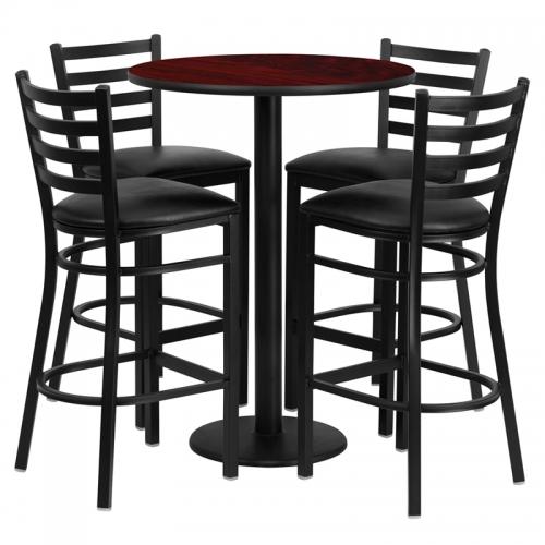 Flash Furniture 30'' Round Mahogany Laminate  Table Set with 4 Ladder Back Metal Bar Stools - Black Vinyl Seat [RSRB1022-GG]