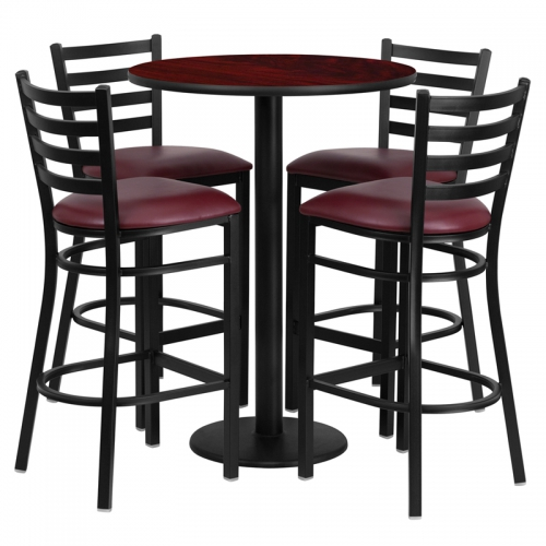 Flash Furniture 30'' Round Mahogany Laminate  Table Set with 4 Ladder Back Metal Bar Stools - Burgundy Vinyl Seat [RSRB1026-GG]