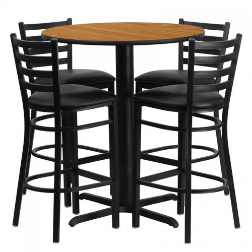 Flash Furniture 30'' Round Natural Laminate Table Set with 4 Ladder Back Metal Bar Stools - Black Vinyl Seat [HDBF1023-GG]