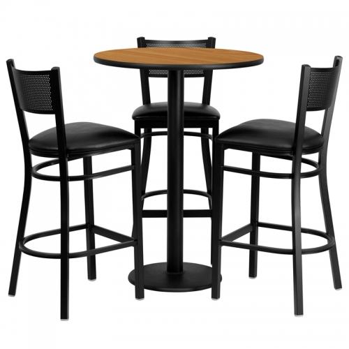 Flash Furniture 30'' Round Natural Laminate Table Set with 3 Grid Back Metal Bar Stools - Black Vinyl Seat [MD-0016-GG]