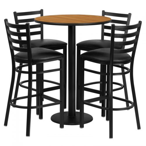 Flash Furniture 30'' Round Natural Laminate Table Set with 4 Ladder Back Metal Bar Stools - Black Vinyl Seat [RSRB1023-GG]