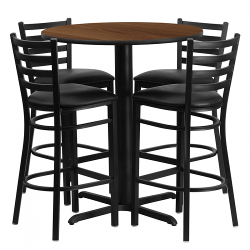 Flash Furniture 30'' Round Walnut Laminate Table Set with 4 Ladder Back Metal Bar Stools - Black Vinyl Seat [HDBF1024-GG]